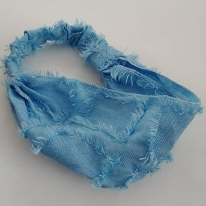 Accessories - HEADBAND BANDANA WRAP HAIR BAND BLUE FRAYED SOLID